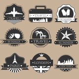 Travel labels stock illustration