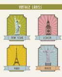 Travel labels Stock Image