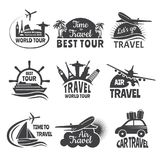 Travel labels set with illustrations of airplane stock illustration