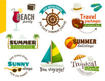Travel labels, summer emblems, cartoon vector illustration Royalty Free Stock Photos