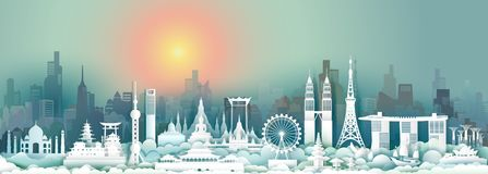 Travel landmark Asia with downtown cityscape skyline and asean tourism. Traveller landmarks city capital, Travel landmarks to Asia, For wallpaper,poster and stock illustration