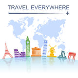 Travel landmark concept poster print Royalty Free Stock Image