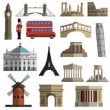 Travel landmark flat icons set Royalty Free Stock Photography