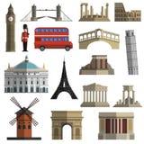 Travel landmark flat icons set. World travel historical landmarks sightseeing bus tours flat icons set with tower bridge abstract isolated  vector illustration Royalty Free Stock Photography