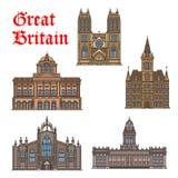 Travel landmark of Great Britain icon set Royalty Free Stock Photo