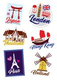 Travel landmark icon set. World country travel landmark icon set vector illustration
