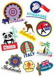 Travel landmark icon set Stock Images