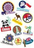 Travel landmark icon set Stock Images