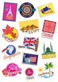 Travel landmark icon set Royalty Free Stock Image