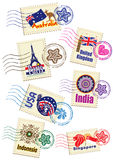 Travel landmark icon stamp set Stock Photography