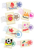 Travel landmark icon stamp set Royalty Free Stock Photos