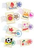 Travel landmark icon stamp set Royalty Free Stock Photos
