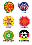 Travel landmark icon stamp set Royalty Free Stock Image