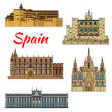 Travel landmark icons of Spain. Colorful thin line travel landmarks of spanish architecture with Cathedral of Santa Maria in Palma and Barcelona Cathedral, Royal royalty free illustration