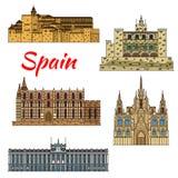 Travel landmark icons of Spain Stock Image