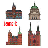 Travel landmark of Kingdom of Denmark icon set. Danish travel landmark of historic and religious buildings thin line icon set. Manor house Vallo Castle, Vejle Stock Photography