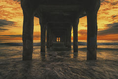 Travel Landmark Manhattan Beach. Pier at Manhattan Beach in Los Angeles, California, United States lit by a stunning sunset Stock Photography