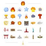 Travel, landmark, monument and other web icon in black style.  Royalty Free Stock Images