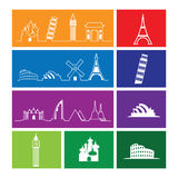 Travel landmark outline icons windows Royalty Free Stock Photo