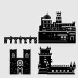 Travel landmark Portugal elements. Flat architecture and building icons Tower Belem, Sintra castle Pena Palace, aqueduct of freedo Royalty Free Stock Images