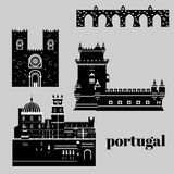 Travel landmark Portugal elements. Flat architecture and building icons Tower Belem, Sintra castle Pena Palace, aqueduct of freedo Stock Photos