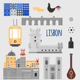 Travel landmark Portugal elements. Flat architecture and building icons Tower Belem, Sintra castle Pena Palace, aqueduct of freedo Stock Image