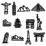 Travel landmarks around the world icon set vector illustration s Royalty Free Stock Photography