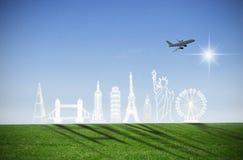 Travel landmarks background Stock Image