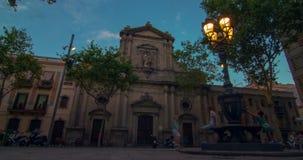 Travel landmarks of Barcelona at sunset. Theater facade in Barcelona, Spain stock video