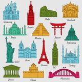 Travel landmarks colorful linear icon set. Vector Illustration Royalty Free Stock Photo