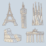 Travel landmarks doodle. Doodle drawings of famous architectural landmarks. Eiffel Tower, Big Ben, Sagrada Familia, Colosseum, Brandenburg Gates Stock Photo