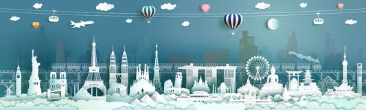Travel landmarks famous world architecture monuments popular royalty free illustration