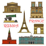 Travel landmarks of France, Russia thin line icon Stock Photography