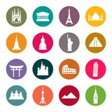 Travel landmarks icon set Stock Photo