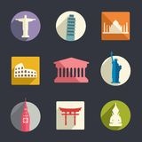 Travel landmarks icon set Royalty Free Stock Image