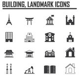 Travel landmarks icon set and Building Stock Photos