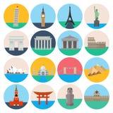 Travel landmarks icon set Stock Photos