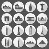 Travel landmarks icon set vector illustration