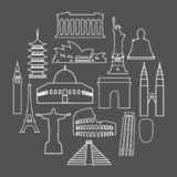 Travel landmarks icon set with thin line style royalty free illustration