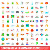100 travel and landmarks icons set, cartoon style Stock Photography