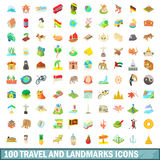 100 travel and landmarks icons set, cartoon style. 100 travel and landmarks icons set in cartoon style for any design vector illustration Royalty Free Stock Images