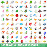 100 travel landmarks icons set, isometric 3d style Royalty Free Stock Photo