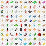 100 travel landmarks icons set, isometric 3d style. 100 travel landmarks icons set in isometric 3d style for any design vector illustration Royalty Free Illustration