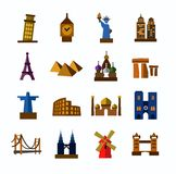 Travel and landmarks  icons Stock Image