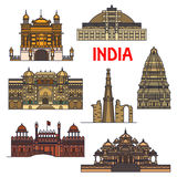 Travel landmarks of indian architecture icon. Travel landmarks of indian architecture thin line icon with minaret Qutub Minar, buddhist Great Stupa, Red Fort Stock Photos