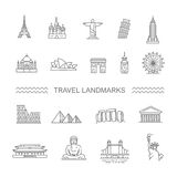 Travel landmarks line icon set Stock Image