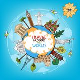 Travel landmarks monuments around world. With plane, sun and clouds vector eps10 illustration royalty free illustration