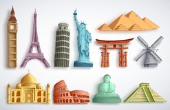 Travel landmarks vector illustration set. Famous world destinations and monuments. Of different city attractions for tourists and travelers in white background vector illustration