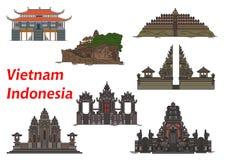 Travel landmarks of Vietnam and Indonesia Royalty Free Stock Photo