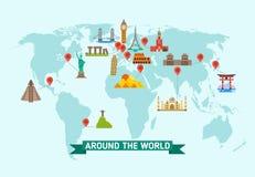 Travel landmarks on world map vector illustration. World monuments of architecture stonehenge and kremlin, international set of famous monuments vector illustration